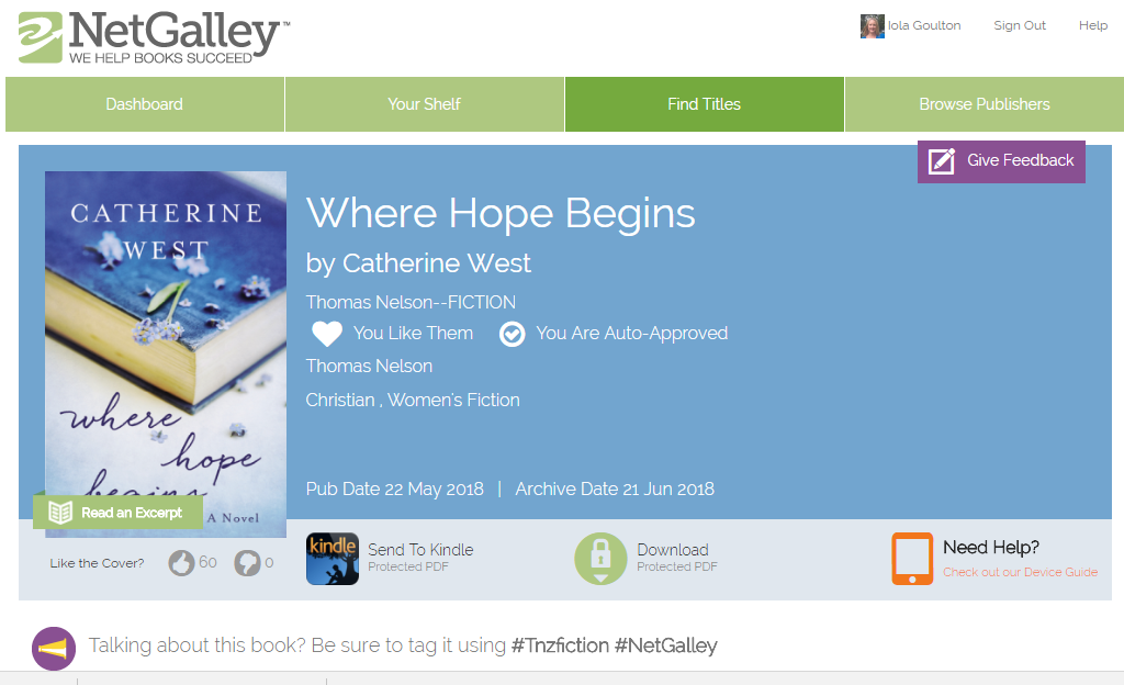 NetGalley page of Where Hope Begins by Catherine West